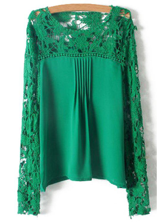 Crochet Flower Splicing Long Sleeves Blouse - Vert M