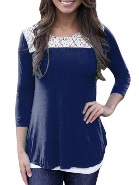 affordable Lace Spliced Low Back Loose-Fitting T-Shirt - DEEP BLUE M