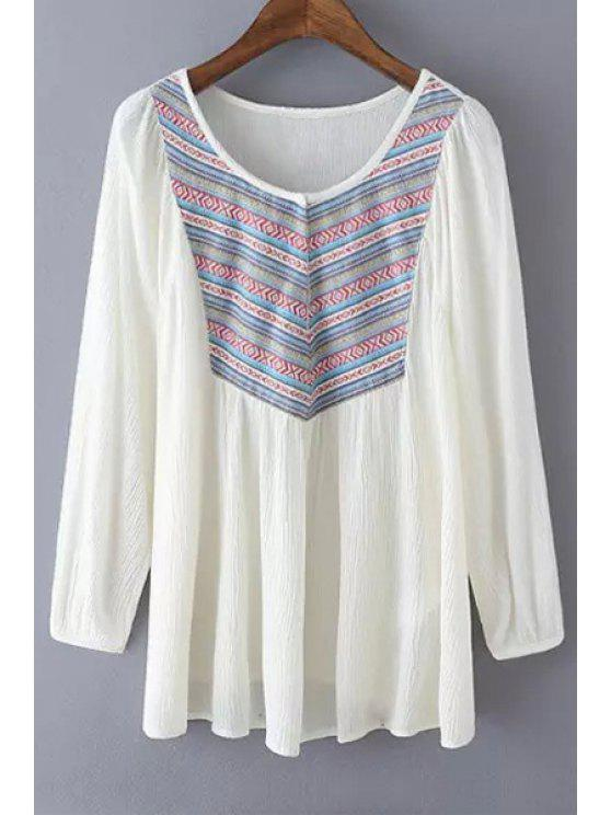 affordable Long Sleeve Ethnic Embroidery Blouse - WHITE M
