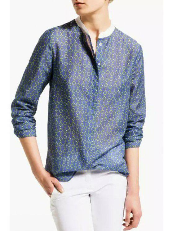 womens Chain Print Stand Neck Long Sleeve Blouse - BLUE S