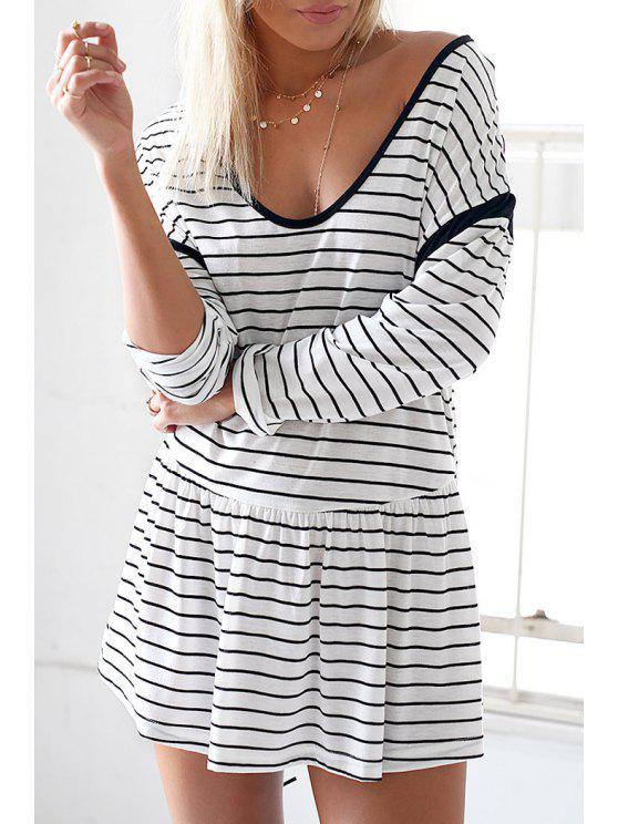 best Long Sleeve Striped Spliced Casual Dress - WHITE S