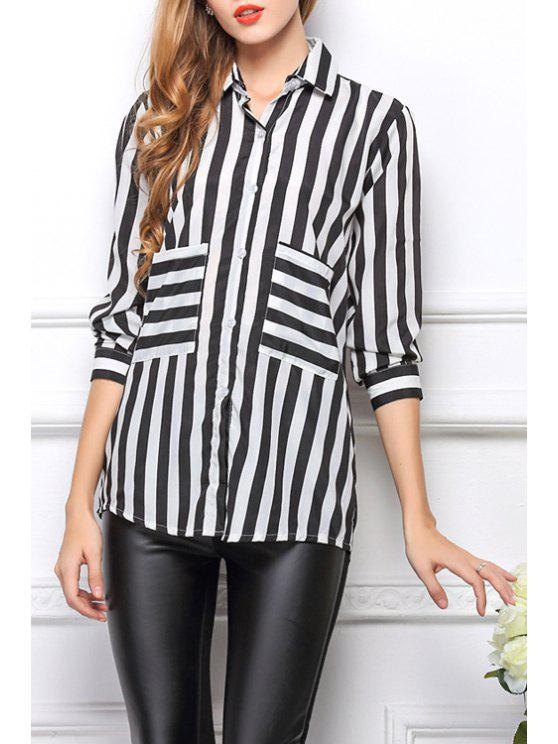 women Long Sleeve Striped Single-Breasted Shirt - WHITE AND BLACK L