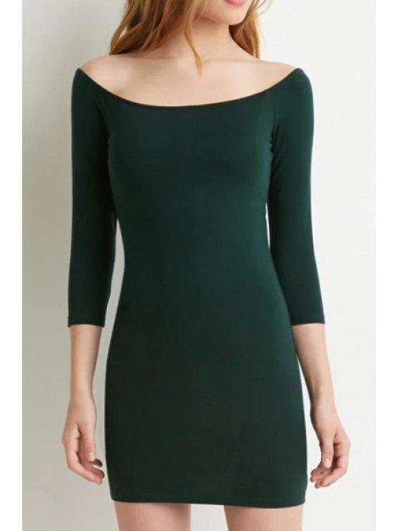 trendy Slash Neck Solid Color 3/4 Sleeve Dress - GREEN XL