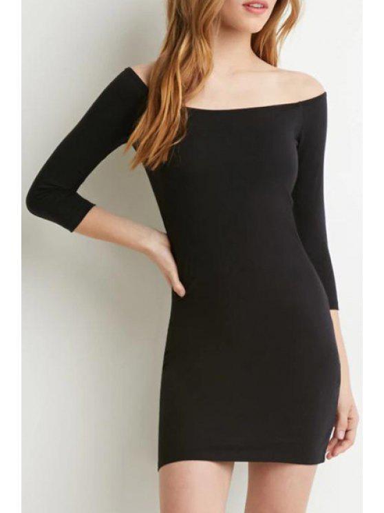 fashion Slash Neck Solid Color 3/4 Sleeve Dress - BLACK S