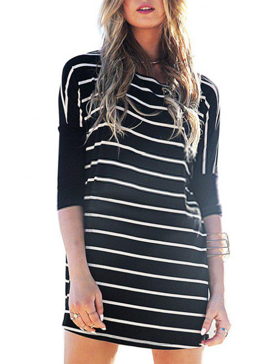 best Half Sleeve Striped Loose-Fitting Dress - BLACK XL