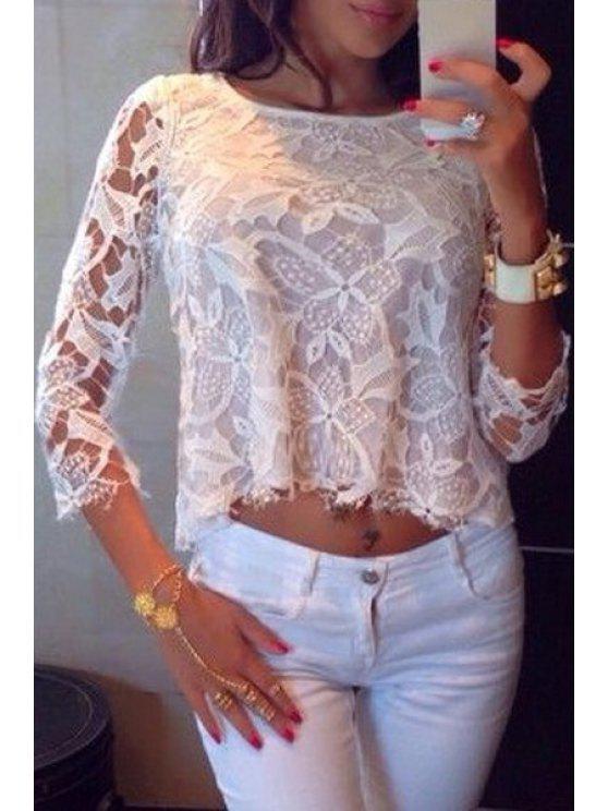 T-shirt à manches 3/4 à motifs floraux transparent - Blanc M