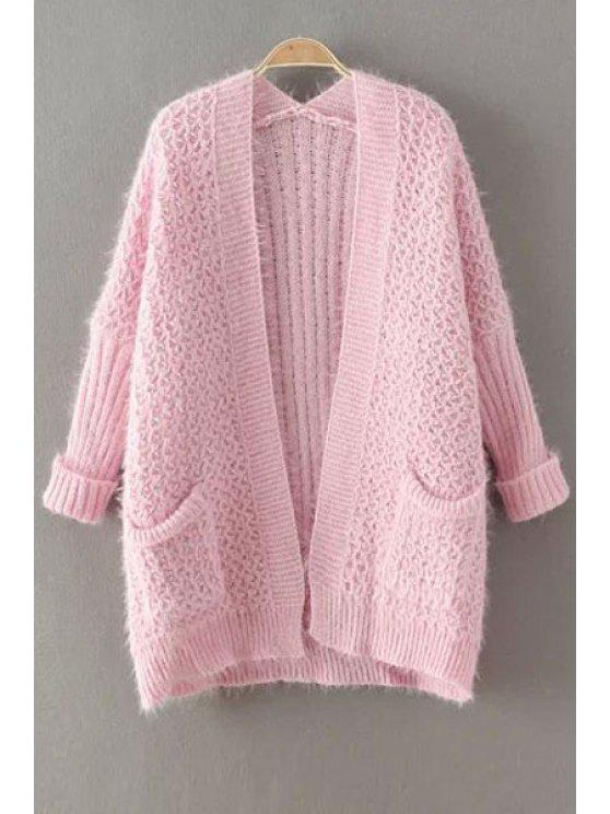 shops Collarless Solid Color Pocket Cardigan - PINK ONE SIZE(FIT SIZE XS TO M)