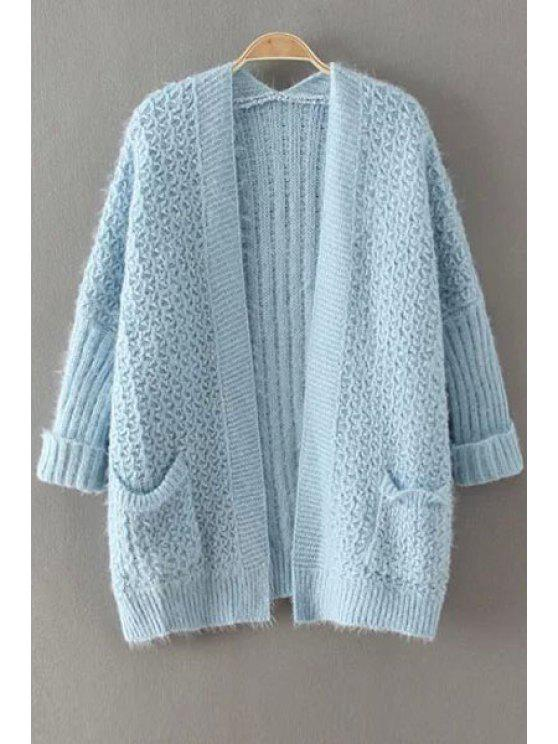 fancy Collarless Solid Color Pocket Cardigan - BLUE ONE SIZE(FIT SIZE XS TO M)
