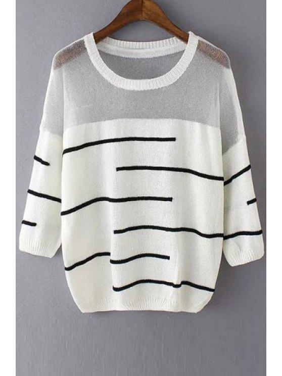 sale See-Through White Black Stripe Long Sleeve Sweater - WHITE ONE SIZE(FIT SIZE XS TO M)