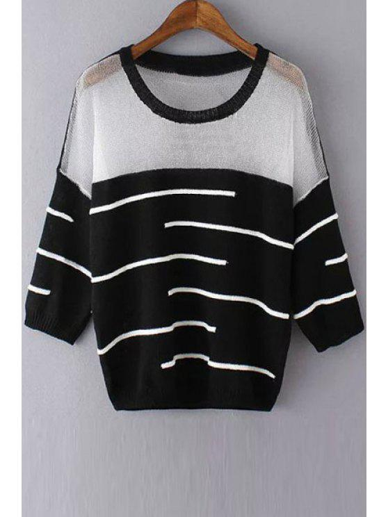 buy See-Through White Black Stripe Long Sleeve Sweater - BLACK ONE SIZE(FIT SIZE XS TO M)