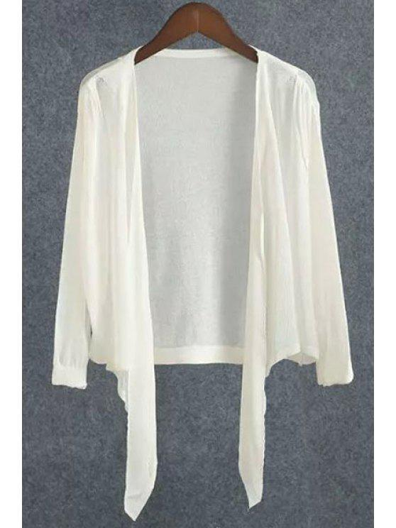 women Solid Color Asymmetrical Cardigan - WHITE ONE SIZE(FIT SIZE XS TO M)