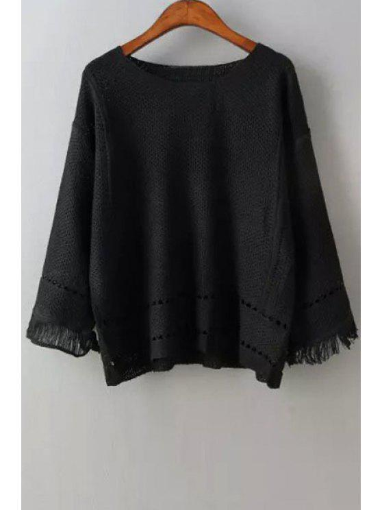 lady Scoop Neck Openwork Fringe Long Sleeve Sweater - BLACK ONE SIZE(FIT SIZE XS TO M)
