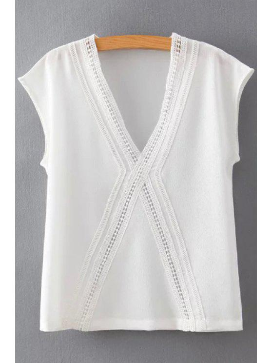 ladies White Chiffon Plunging Neck Short Sleeve Blouse - WHITE S
