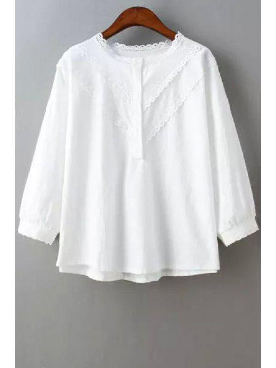 online Lace Edging Splicing 3/4 Sleeve Shirt - WHITE ONE SIZE(FIT SIZE XS TO M)