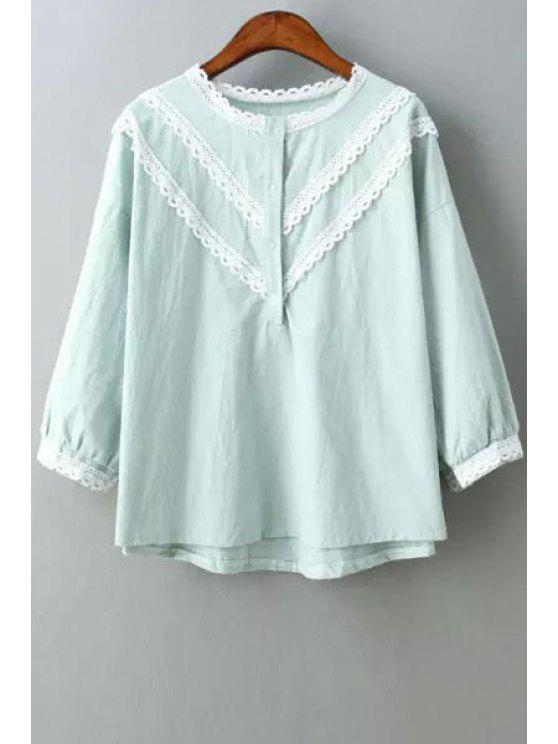 shop Lace Edging Splicing 3/4 Sleeve Shirt - LIGHT BLUE ONE SIZE(FIT SIZE XS TO M)