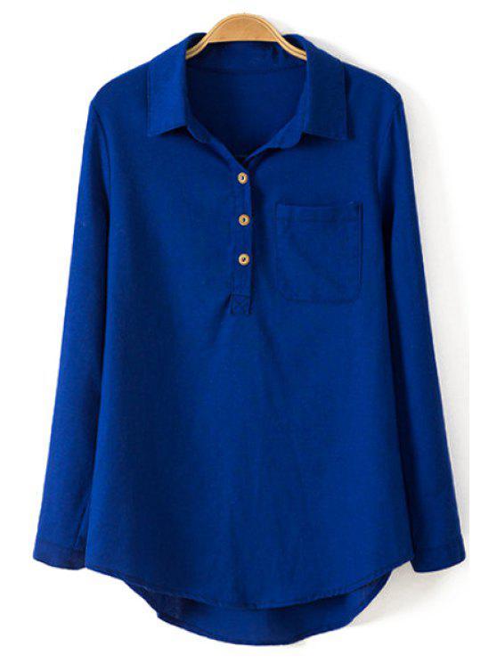 hot Pure Color Linen Long Sleeve Shirt - BLUE L