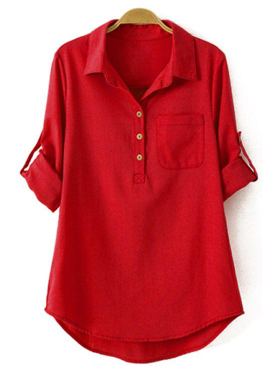 affordable Pure Color Linen Long Sleeve Shirt - RED M