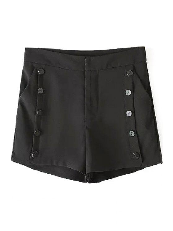 online Solid Color Double-Breasted High Waisted Shorts - BLACK S