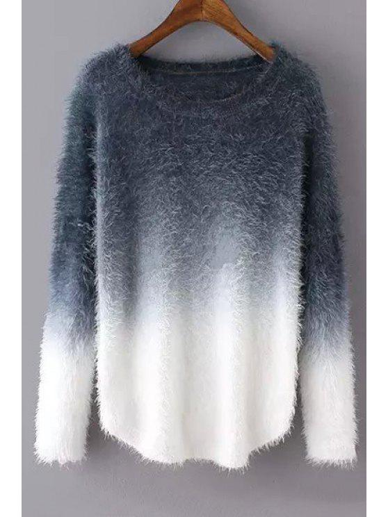 outfits Ombre Mohair Long Sleeve Sweater - GRAY ONE SIZE(FIT SIZE XS TO M)
