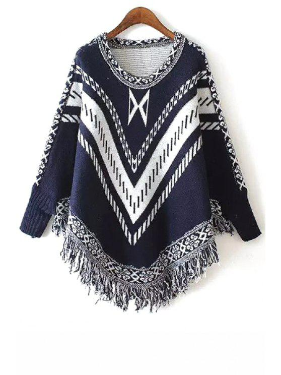 buy Stripe Fringe Splicing Long Sleeve Sweater - PURPLISH BLUE ONE SIZE(FIT SIZE XS TO M)