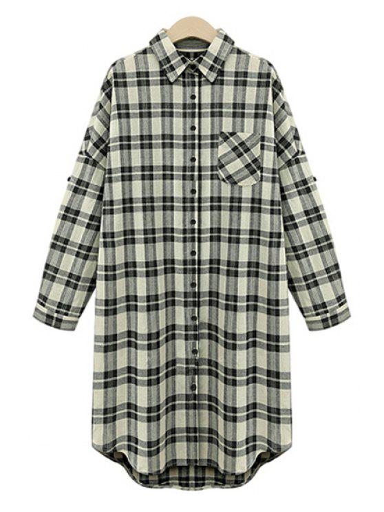 unique Draped Sleeve Single-Breasted Plaid Midi Dress - WHITE AND BLACK 5XL