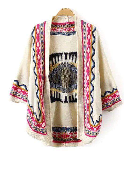 fashion Tribal Pattern 3/4 Sleeve Cardigan - BEIGE M