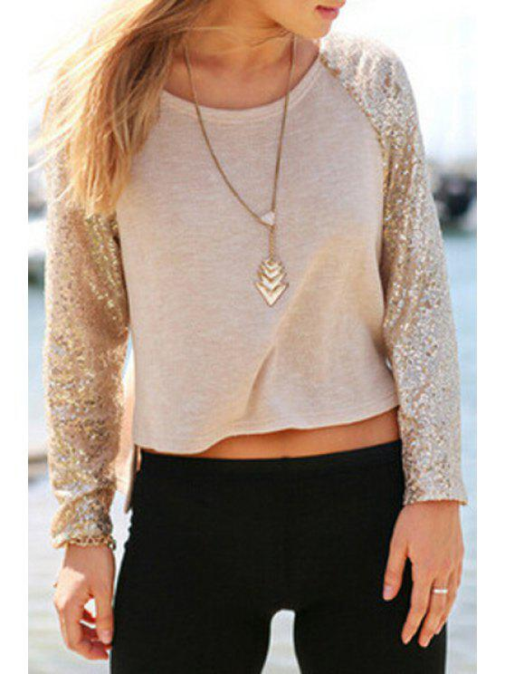 sale Long Sequined Sleeve Solid Color T-Shirt - KHAKI S