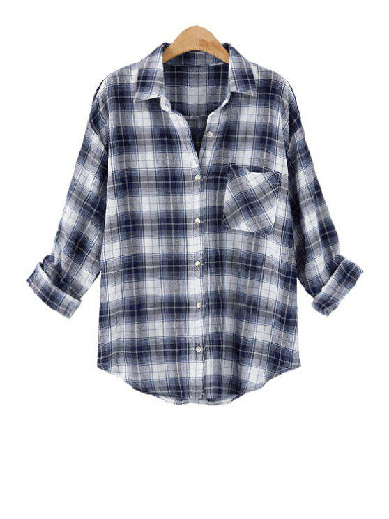 outfit Long Sleeve Plaid Single-Breasted Shirt - BLUE AND WHITE XL