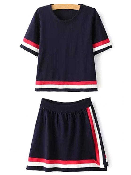 ladies Stripes Short Sleeve T-Shirt and A Line Skirt Suit - CADETBLUE ONE SIZE(FIT SIZE XS TO M)