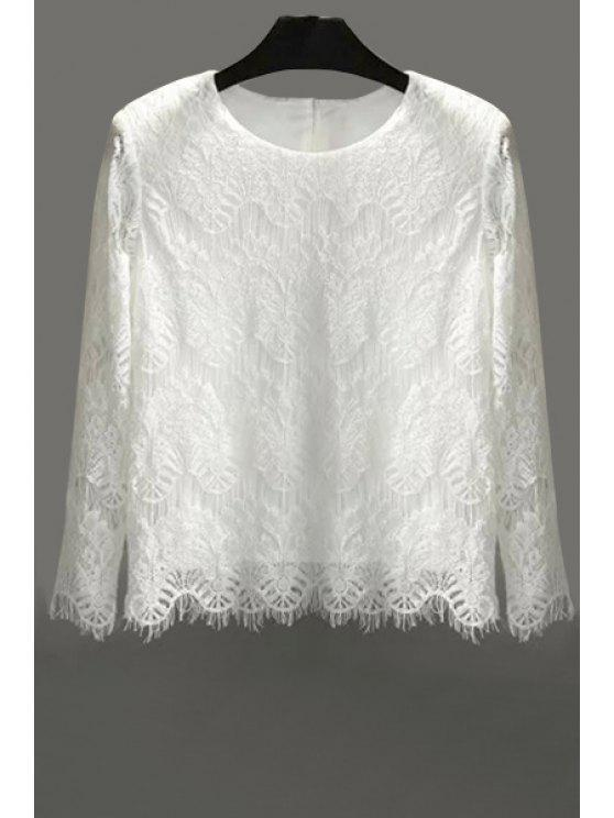 latest Lace Solid Color Long Sleeve Blouse - WHITE M