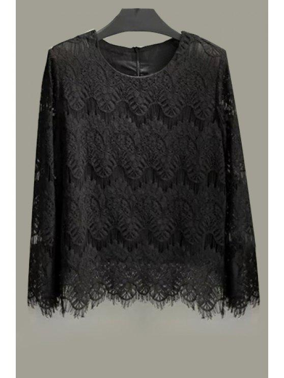 women's Lace Solid Color Long Sleeve Blouse - BLACK XL
