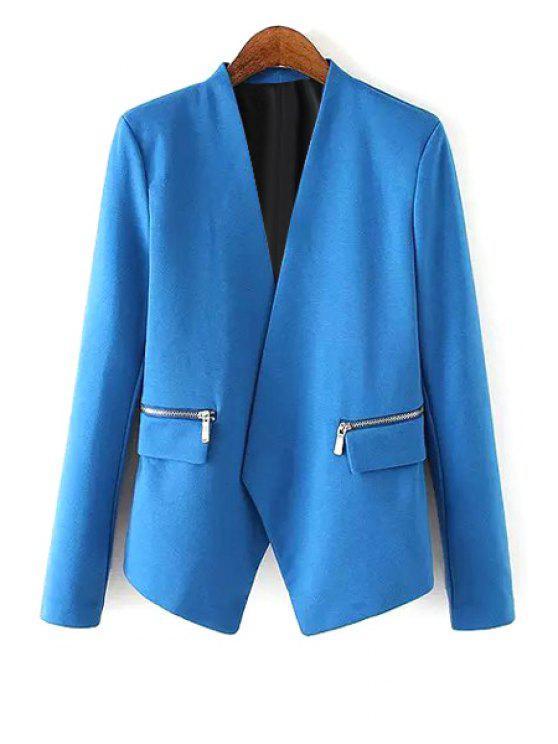 shop V Neck Zipper Pocket Long Sleeve Blazer - BLUE L