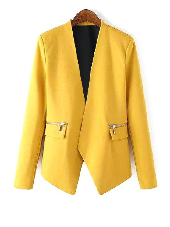 chic V Neck Zipper Pocket Long Sleeve Blazer - YELLOW M