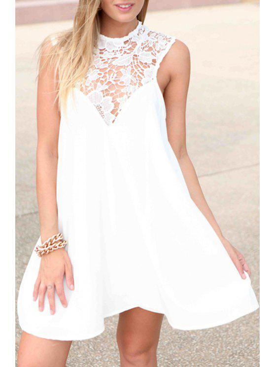 lady Lace Spliced Cut Out Sleeveless Dress - WHITE XS