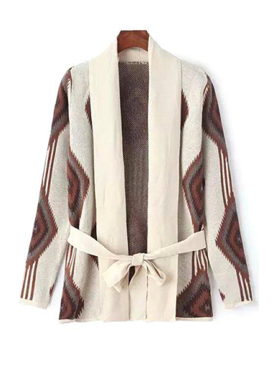 lady Turn-Down Collar Argyle Pattern Belt Cardigan - COLORMIX S