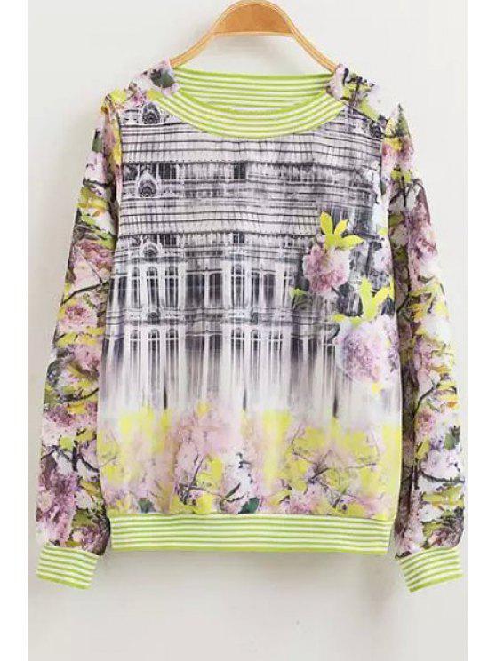 fancy Floral Print Stripe Long Sleeve Sweatshirt - COLORMIX M