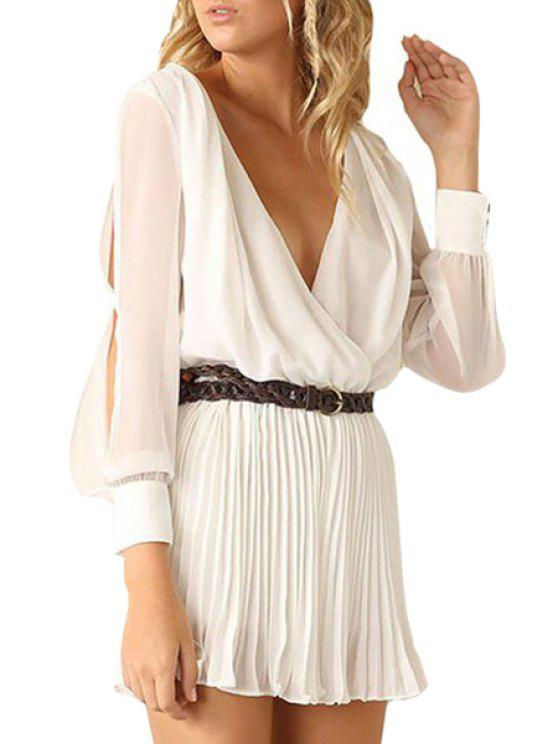 fancy Pleated Plunging Neck Long Sleeve Dress - WHITE S