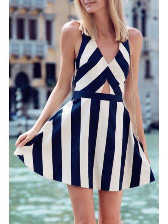 hot V Neck Stripe Hollow Out Sleeveless Dress - BLUE AND WHITE S