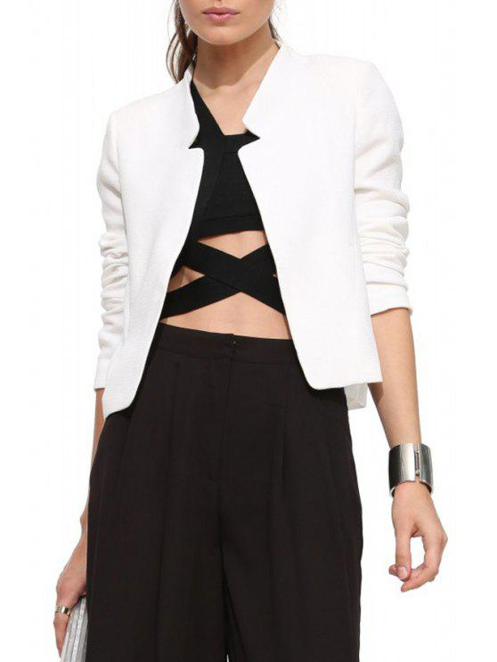 lady Solid Color Simple Design Blazer - WHITE S