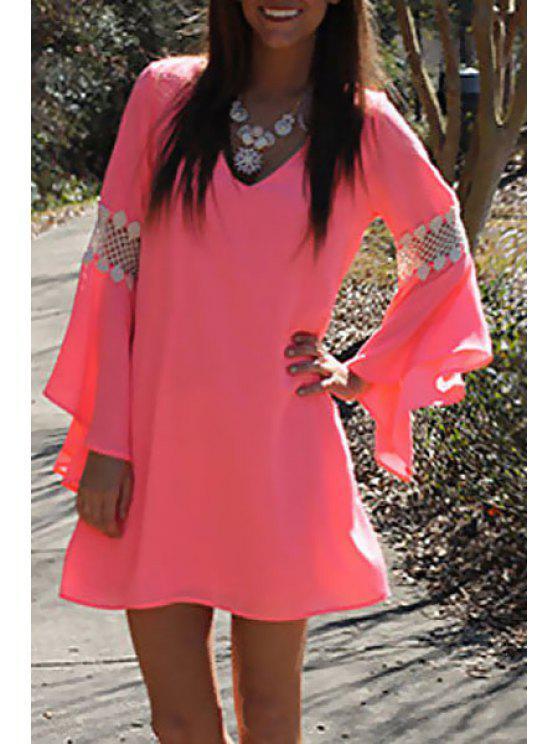 best Openwork Lace Splicing Long Sleeve Dress - WATERMELON RED S