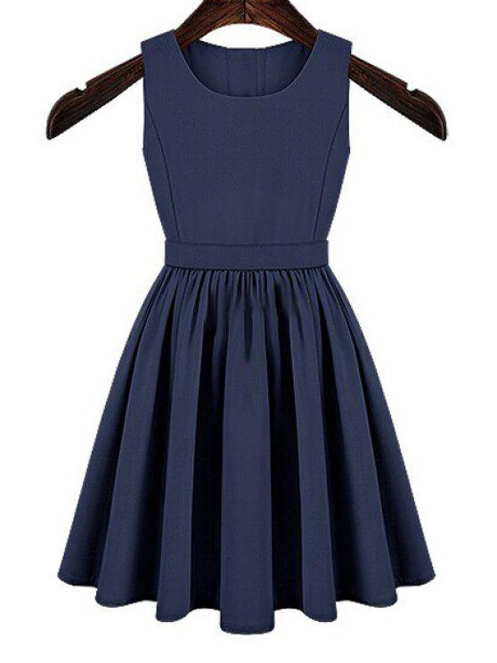 online Solid Color Cut Out Button Dress - BLUE XL