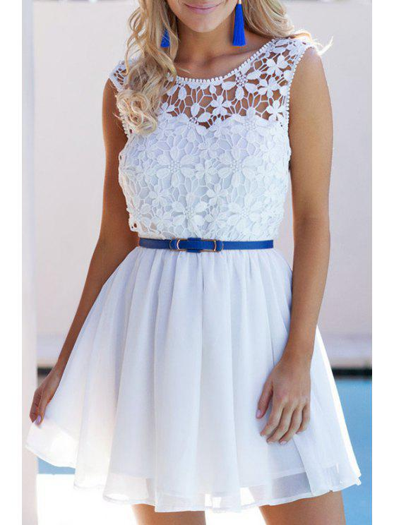 latest Crochet Flower Sleeveless Backless Dress - WHITE S