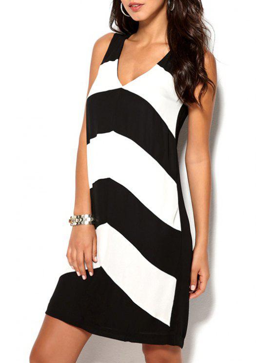 buy Zig Zag V Neck Sleeveless Dress - WHITE AND BLACK S