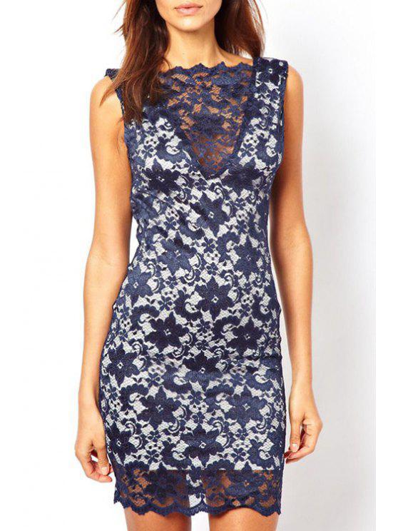 latest Lace Sleeveless Open Back Bodycon Dress - DEEP BLUE M