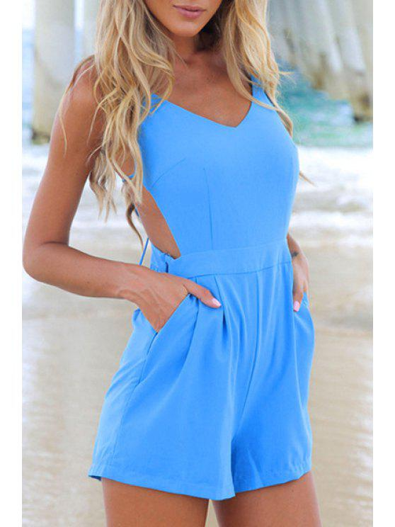 best Solid Color Cami Open Back Playsuit - AZURE S