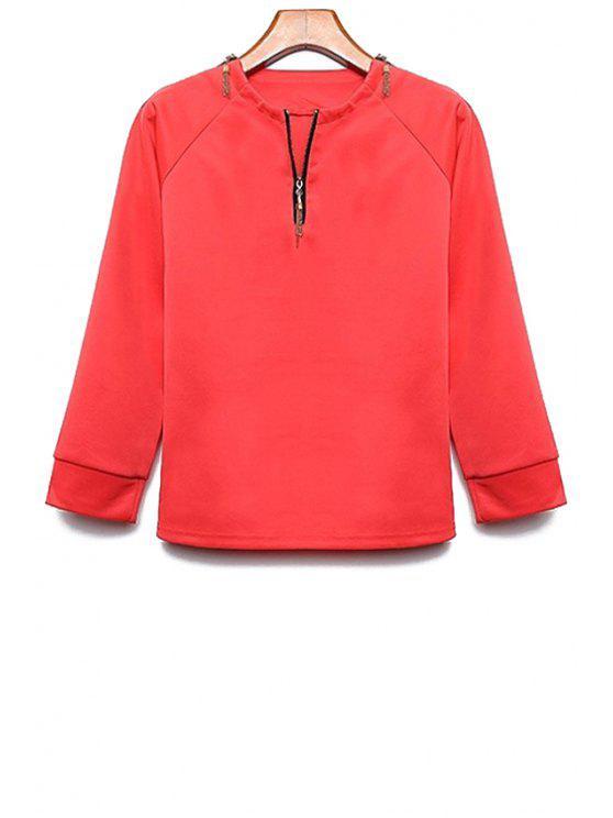 Long Sleeve Zipper Design T-Shirt - Rojo XL