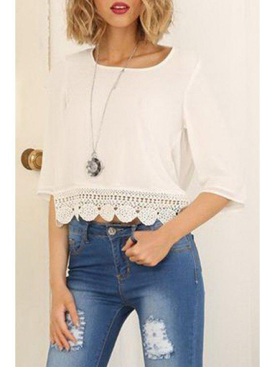 lady Half Sleeve Open Back Chiffon Blouse - WHITE S