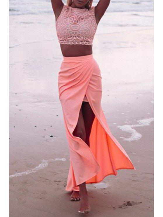 outfits Lace Crop Top + High-Waisted Slit Skirt Twinset - PINK XL