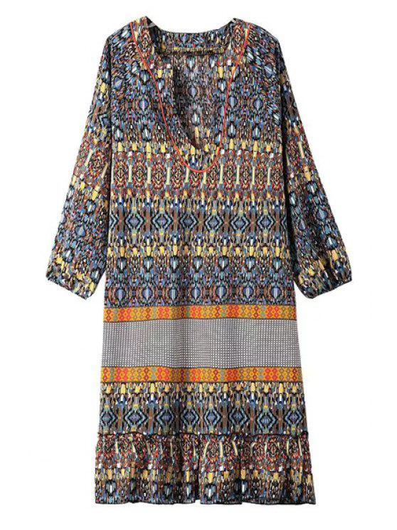 buy V Neck Argyle Printed 3/4 Sleeve Dress - YELLOW S