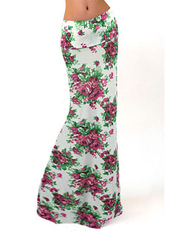 sale Floral Print Packet Buttocks Long Skirt - WHITE S